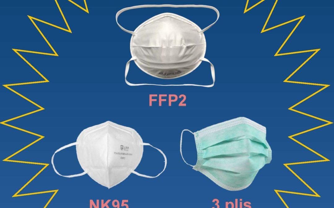 Masques, gels désinfectants, gants, lunettes de protection